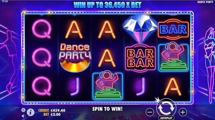 dance party slot screen