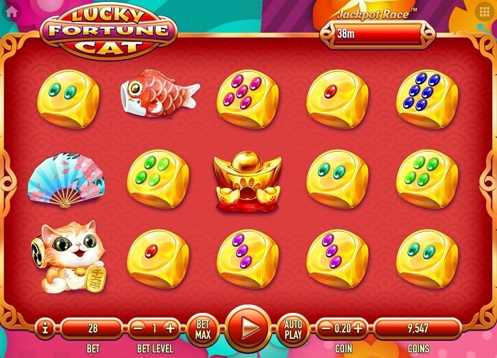 lucky fortune cat slot screen