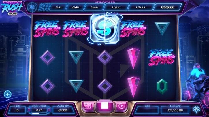 neon rush splitz slot screen