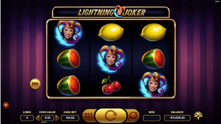 lightning joker slot screen