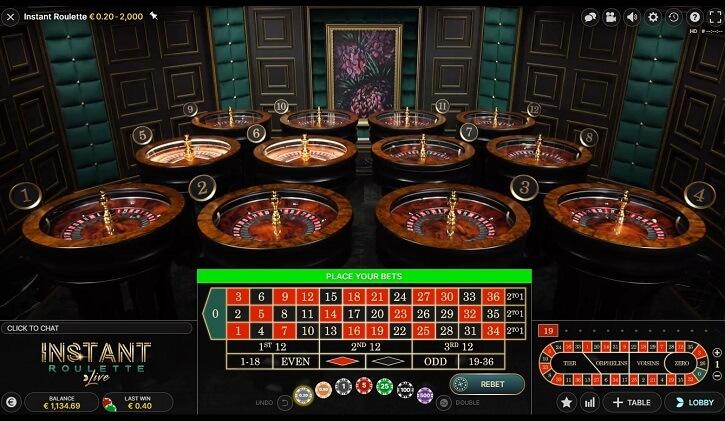 instant roulette tables