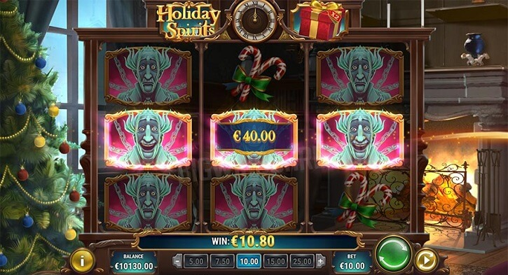 holiday spirits slot screen
