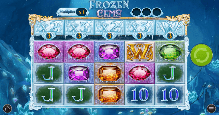 frozen gems slot screen