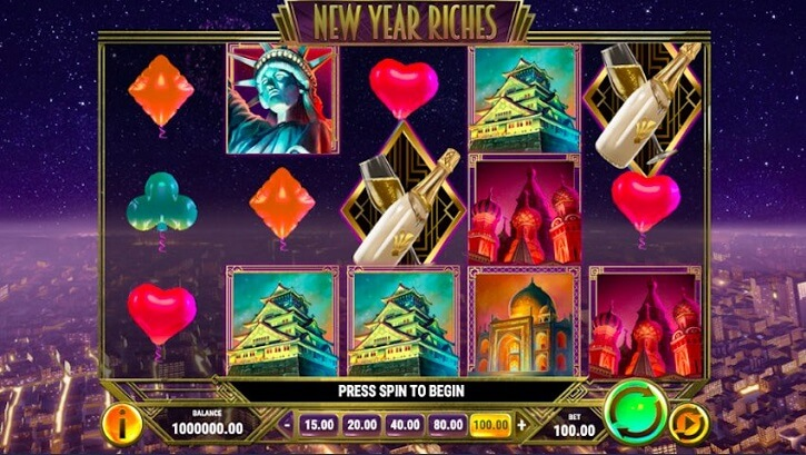 new year riches slot screen