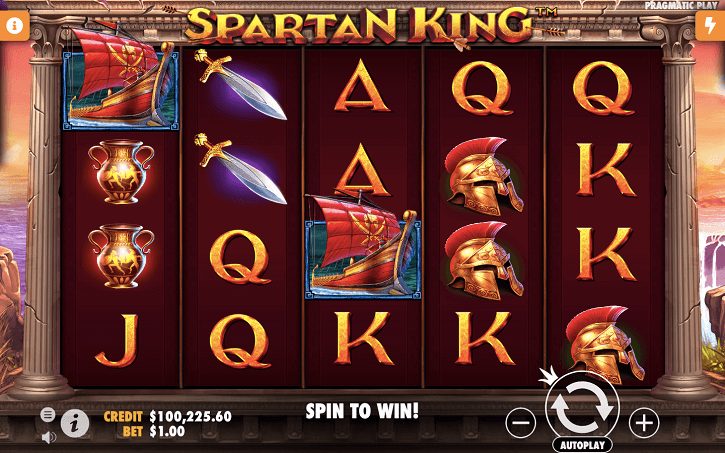 spartan king slot screen