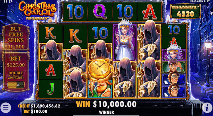 christmas carol megaways slot screen
