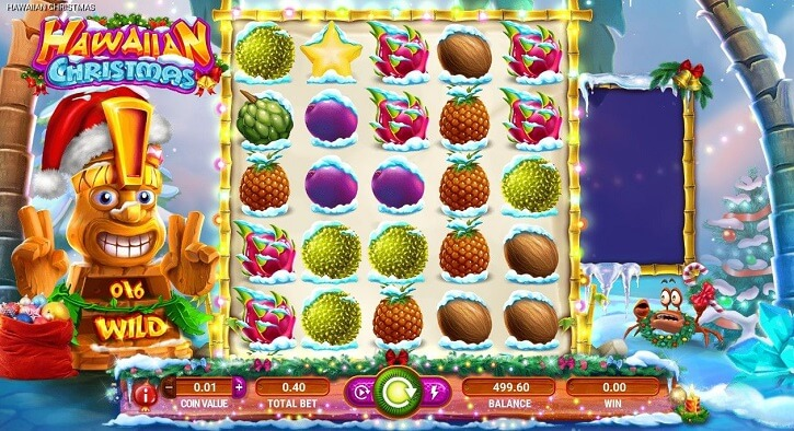 hawaiian christmas slot screen