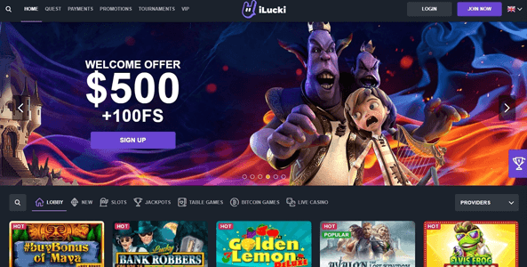 ilucki casino website screen