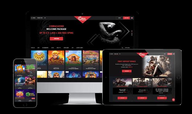 cobra casino website screens
