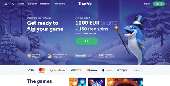 trueflip casino website screen