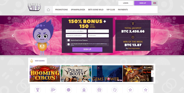 cryptowild casino website screen