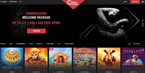 cobra casino website screen