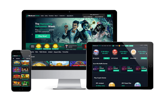 games.bitcoin.com website screens