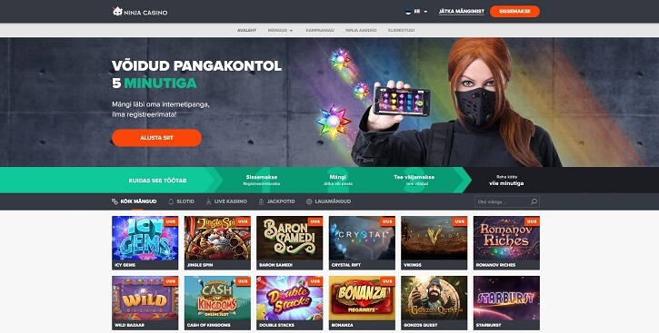 ninja kasiino website screen
